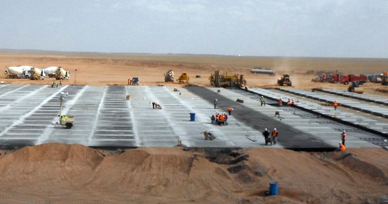 Construction of concrete parking apron